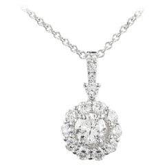 Alexander 1.88ct Round Diamond with Halo 18k White Gold Pendant Necklace