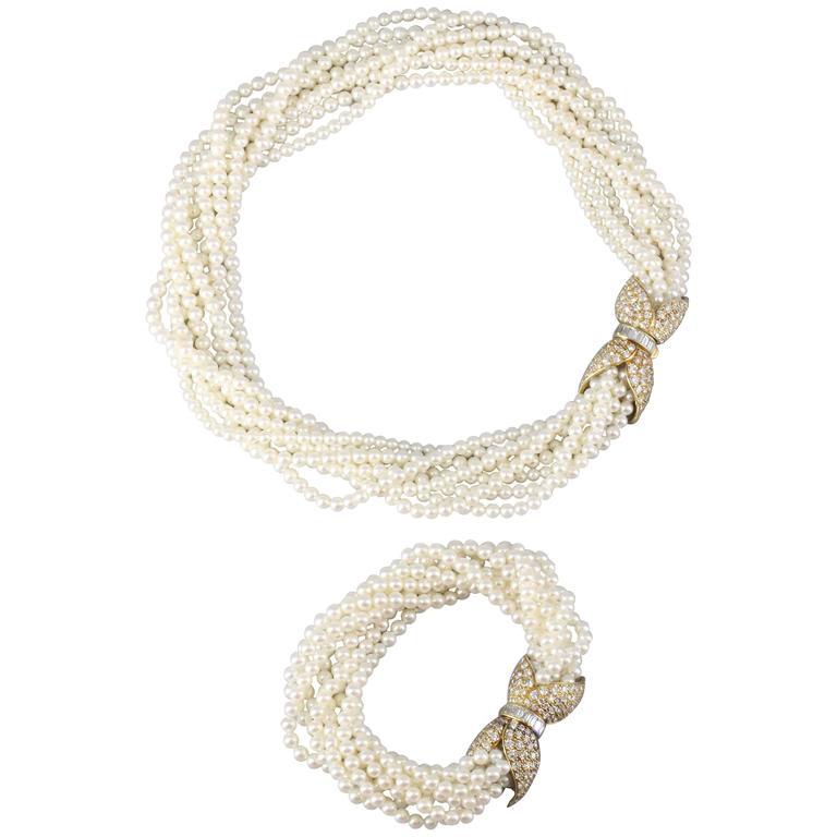 Van Cleef & Arpels Pearl Diamond Gold Torsade Necklace and Bracelet Combination