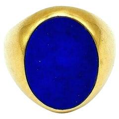 Cartier Vintage Lapis Lazuli Yellow Gold Signet Ring