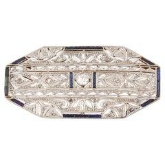 Antique Art Deco Diamond Sapphire Platinum Gold Pin Brooch