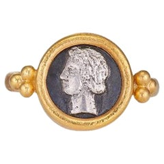 Ring in 22 Kt Yellow Gold and Oxidized Silver Ancient Coin with Goddess Dimitra
