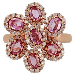 Pink Sapphire & Diamond Ring Studded in 18K Rose Gold