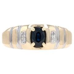 Yellow Gold Sapphire & Diamond Men's Ring, 10k Oval Cut .69ctw