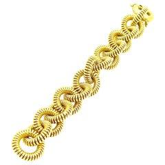 18K Yellow Gold Large Circular Spiral Link Bracelet