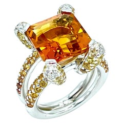 6.00 Carat Madeira Citrine in a Pave Diamond and Citrine White Gold Ring