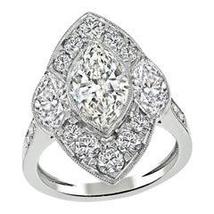 1.44ct Center Diamond 1.90ct Side Diamond Engagement Ring