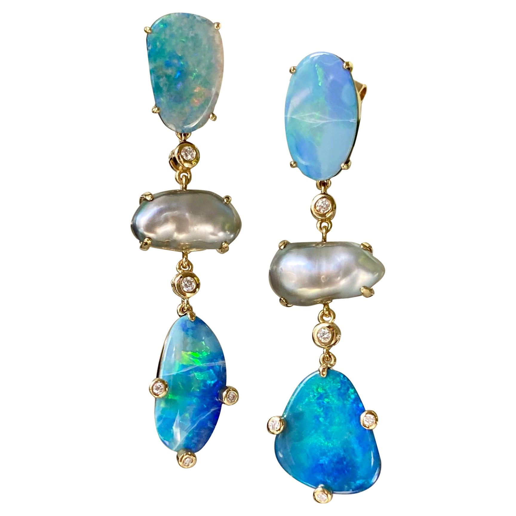 18 Karat Yellow Gold Boulder Opal Keshi Pearl Diamond Drop Dangle Earrings