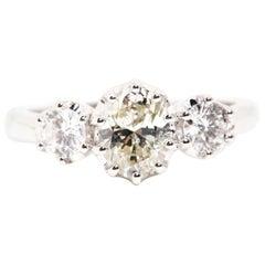 1.04 GIA Certified Carat Oval Diamond Three Stone Engagement Ring 18 Carat Gold