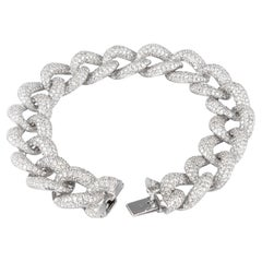 Alexander 12.87 Carat Diamond Cuban Link Bracelet 18 Karat White Gold