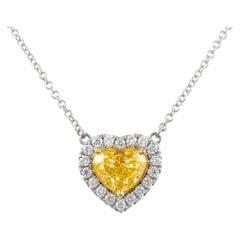 Alexander GIA 1.50ct Heart Fancy Yellow Diamond with Diamond Halo 18k Gold