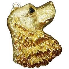 1996 Tiffany & Co. Handsome Sapphire Gold Cocker Spaniel Dog's Head Charm