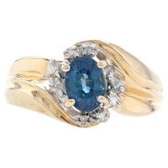 Yellow Gold Sapphire & Diamond Bypass Ring, 14k Oval Brilliant Cut 1.08ctw