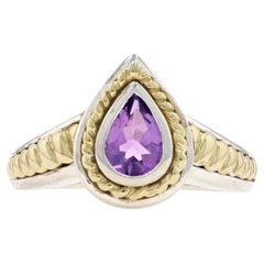 Krementz Amethyst Solitaire Ring Silver & Yellow Gold, 925 & 18k Pear .65ct