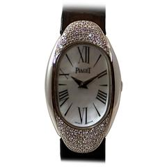 "Piaget White Gold Diamond ""Dune"" Strap Quartz Wristwatch"