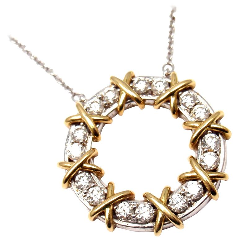 10bf74d5f Tiffany & Co. Schlumberger Sixteen Stone Diamond Gold Platinum Necklace For  Sale