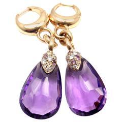 Pomellato Amethyst Drop Diamond Gold Earrings