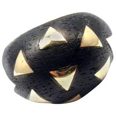 Van Cleef & Arpels Wood Gold Bombe Band Ring