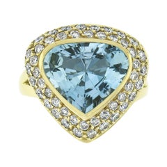 H. Stern 18k Yellow Gold 3.62ctw Bezel Pear Aquamarine & Diamond Cocktail Ring