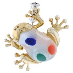 Mother of Pearl, Lapis, Coral, & Malachite Asch Grossbardt Frog Brooch 14k Gold