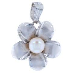 Cultured Pearl Flower Pendant, 14k White Gold Floral