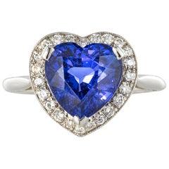 Heart Shaped Tanzanite Diamond Gold Ring