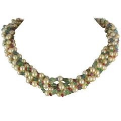 Pearl Emerald Sapphire Ruby Spinel Necklace
