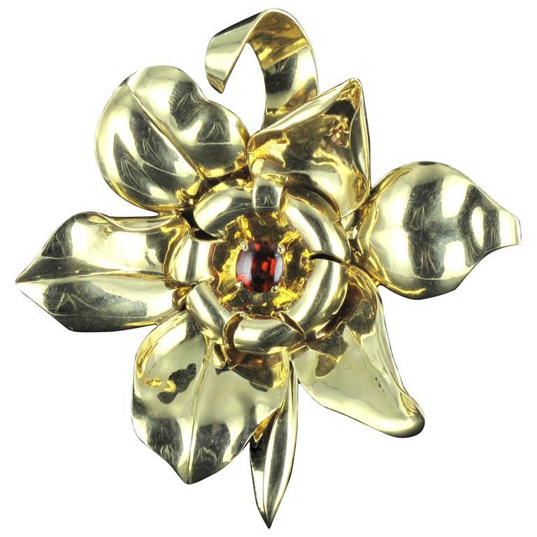 1950s French Orange Garnet Cabochon Gold Flower Brooch