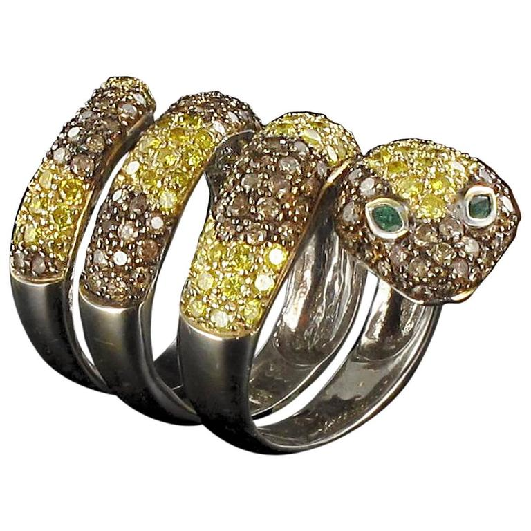 splendid 5 carats emerald gold snake ring for sale