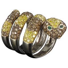 Splendid 5 Carats Emerald Diamond Gold Snake Ring