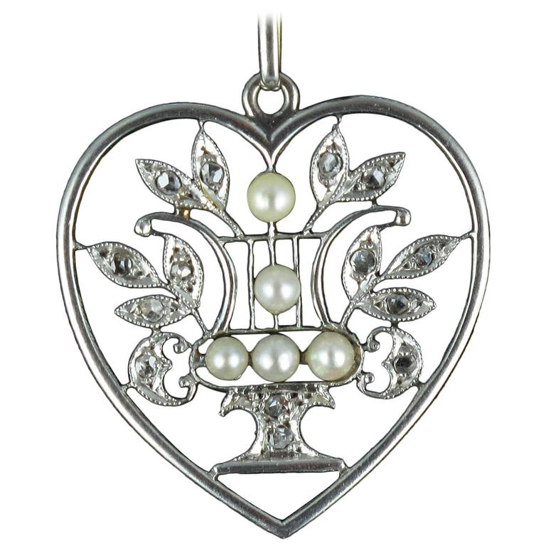 1900 French Natural Pearl Diamond Gold Heart Pendant  1
