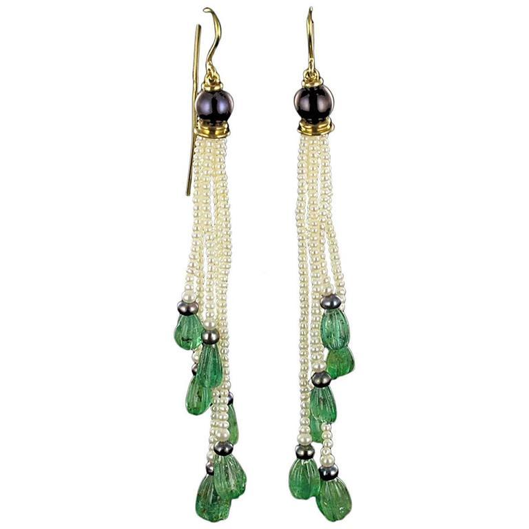 Baume Engraved Emerald Pearl Long Dangle Earrings