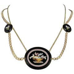 1820s Antique Micro Mosaic Gold Necklace
