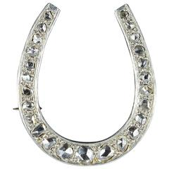 French Art Deco Diamond Gold Platinum Horseshoe Brooch
