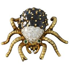 Sapphire Diamond Gold Spider Brooch