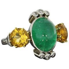 1940s Emerald Cabochon Citrine Diamond Gold Ring