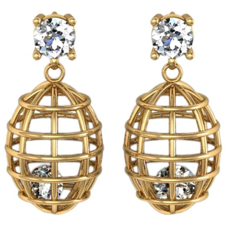 Lidy Peters & Sparkles Diamond Gold Earrings For Sale