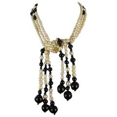 Baume Onyx Pearl Long Necklace