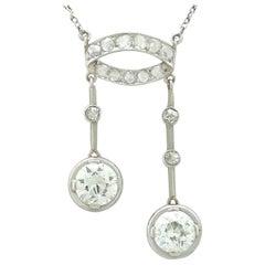 1920s Antique 3.33 Carat Diamond and Platinum Pendant