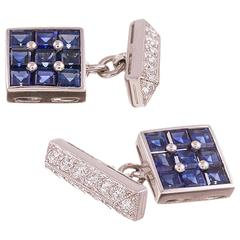 Tiffany & Co. Sapphire Diamond Platinum Cufflinks