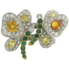Chantecler Yellow Sapphire Emerald Diamond Gold Dragonfly Ring