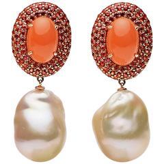 Orange Moonstone Orange Blue Sapphire Freshwater Pearl Gold Earrings