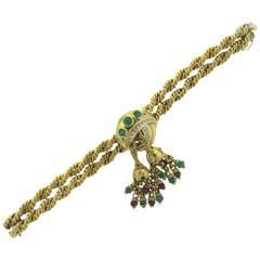 1960s Ruby Emerald Diamond Gold Tassel Bracelet
