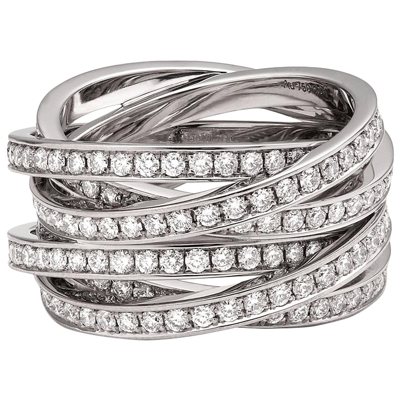 diamond gold multi row interlocking ring at 1stdibs. Black Bedroom Furniture Sets. Home Design Ideas