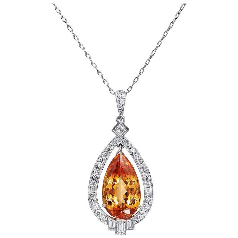 GIA Cert 13.57 Carat Topaz Diamond Platinum Pendant