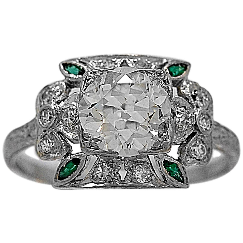 antique emerald 1 45 carat platinum engagement