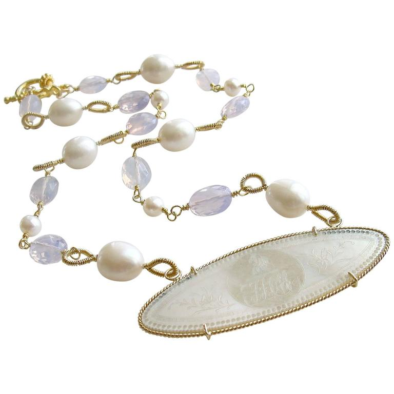 Mother of Pearl Monogram Gaming Counter Lavender Moon Quartz Necklace