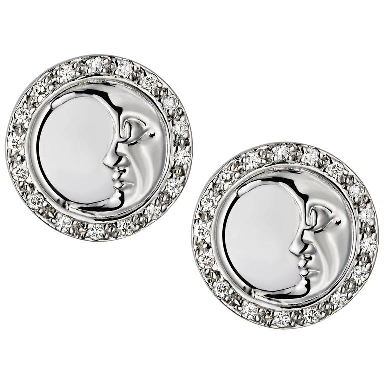 Ana De Costa Gold Diamond Circular Moon Earrings 1
