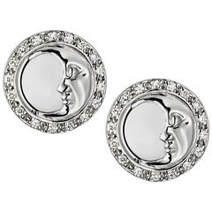 Ana De Costa White Gold White Round Diamond Circular Moon Stud Earrings