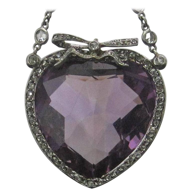 33.12 Carat Heart Shaped Amethyst Diamond Platinum Pendant and Chain