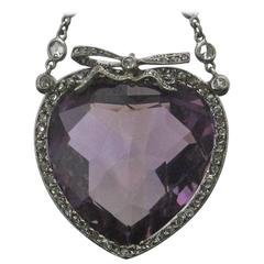 33.12 Carat Heart Shaped Amethyst Diamond Platinum Pendant and Chain
